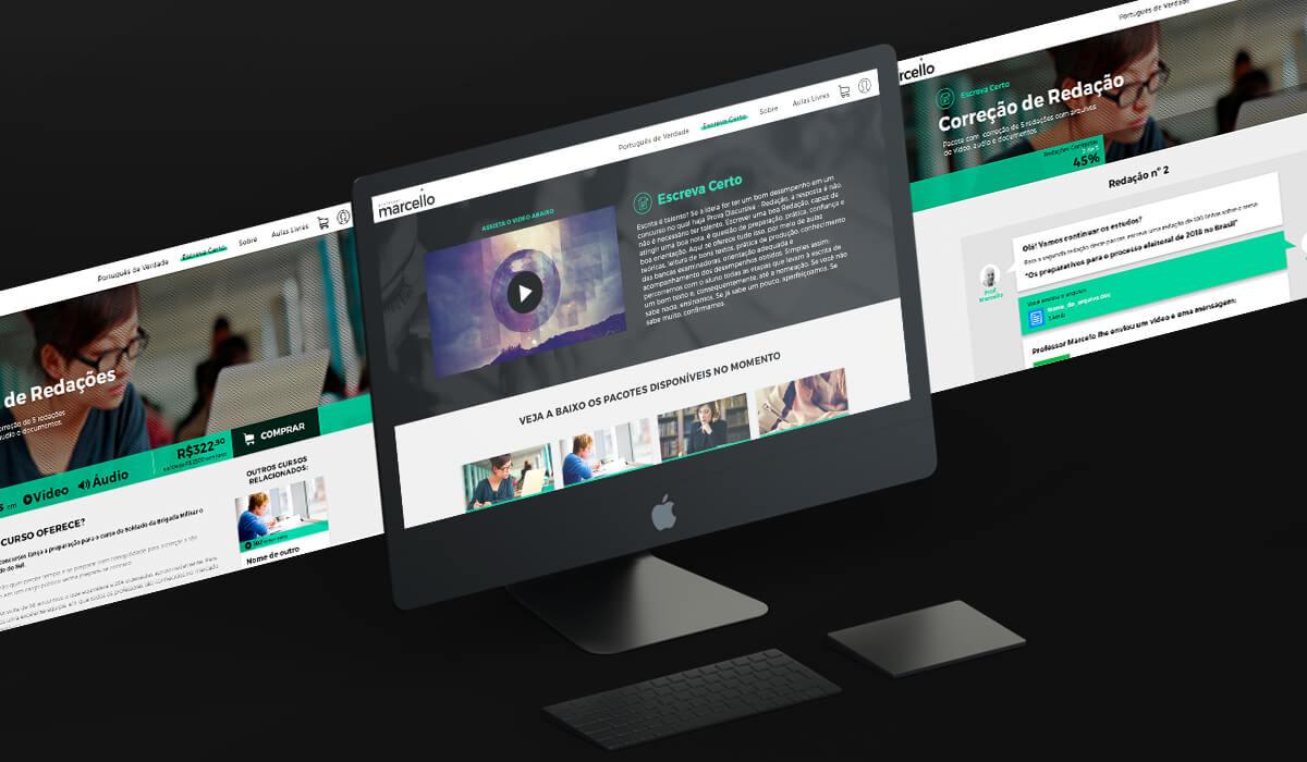 Tela de desktop mostrando a página de venda de correção de redação no site do Professor Marcello, e o sistema de chat que a Fuerza Studio desenvolveu para que ele possa interagir com os alunos e dar feedback sobre as redações.