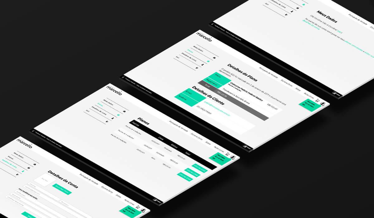 Quatro telas mostrando a área de cliente no e-commerce que a Fuerza Studio desenvolveu para o Professor Marcello