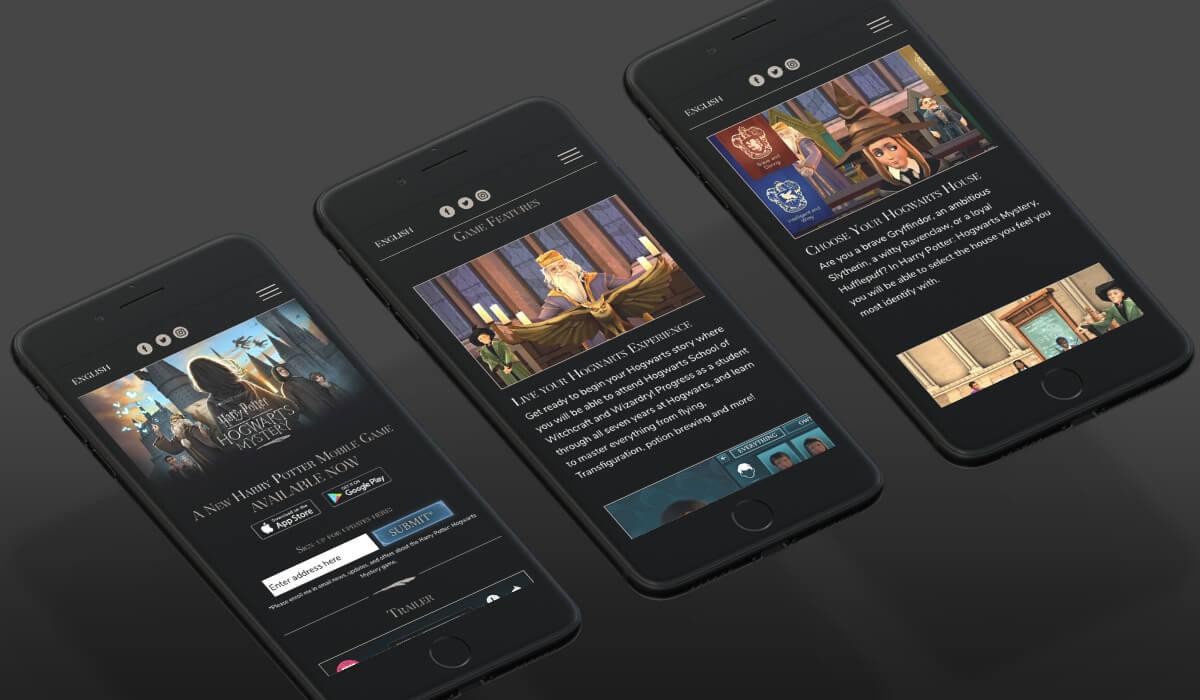Três smartphones mostrando o site do jogo Harry Potter - Hogwarts Mystery
