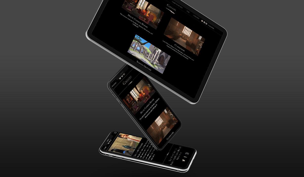 Dois smartphones e um tablet mostrando que o site do jogo Harry Potter - Hogwarts Mystery se adequa a diversos formatos de tela