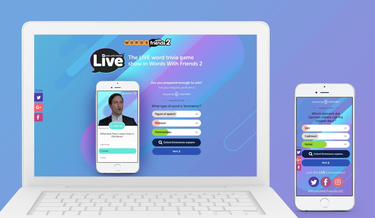 Notebook e smartphone mostrando a interface do jogo Words With Friends Live
