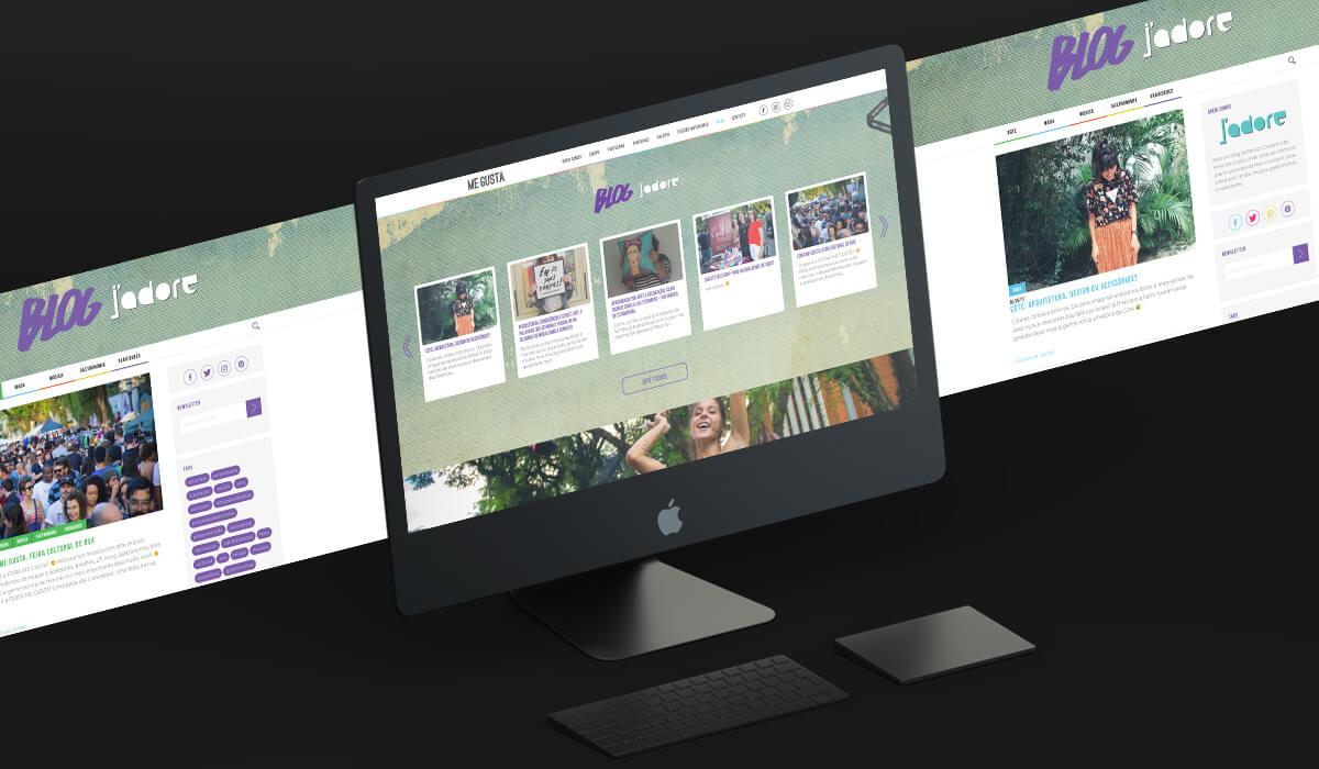 Tela de computador mostrando o blog da revista J'Adore