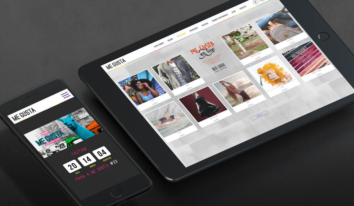Smartphone mostrando tela com contagem regressiva para a próxima feira no site da Me Gusta e tablet mostrando a loja online dos parceiros da feira