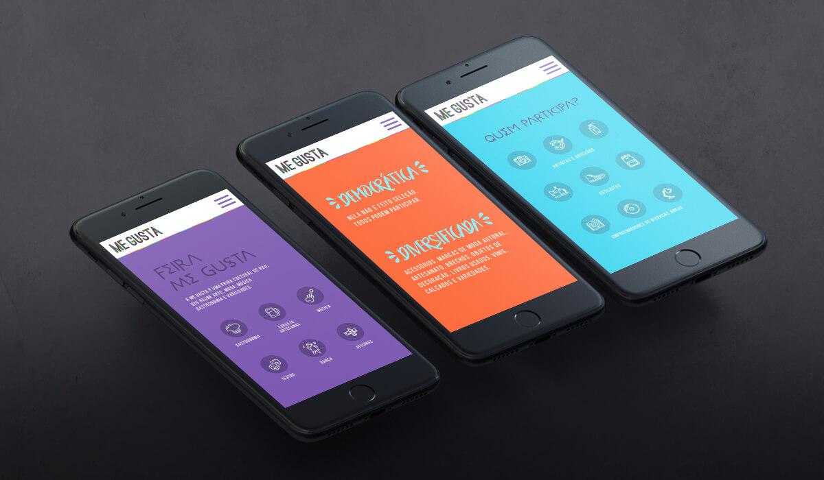 Três smartphones mostrando o site da Feira Me Gusta