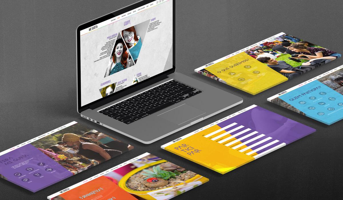 Notebook mostrando o site da Feira Me Gusta