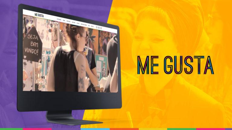 Tela de desktop mostrando o site da feira Me Gusta